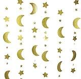 Mybbshower Gold Glitter Moon and Stars Garland Children's Birthday Party Nursery Room Decoration 12 Feet