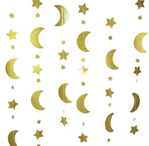 Mybbshower Moon and Stars Garland Gold Glitter Nursery Decoration 12 Feet