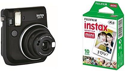 Fujifilm Instax Mini 70 - Cámara analógica instantánea (ISO 800, 0.37x, 60 mm, 1:12.7, flash automático, modo autorretrato, exposición automática, temporizador, modo macro), negro medianoche + 1 paquete de películas fotográficas instantáneas (10 hojas ...