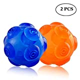 Squeaky Toys Dog Interactive Ball - Unicool Durable Soft Non-Toxic Rubber Squeeze Bouncey Ball for Aggressive Chewers ,Kick and Fetch Ball for Medium Large Dog [Floatable on Water,3.5](set 1)