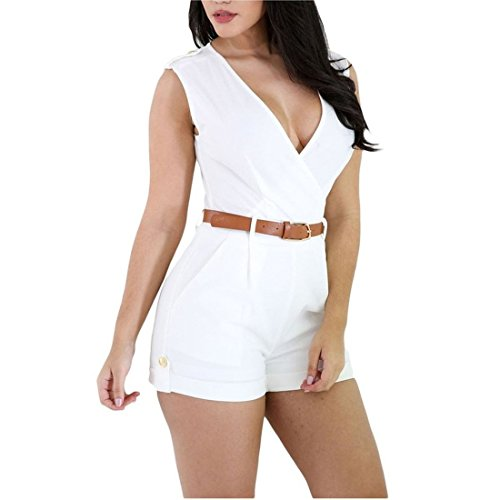 JUST MODEL Women Sexy V Neck Buckle Up Sleeveless Short Pants Jumpsuit Rompers with Belt L White