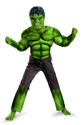 [Avengers Hulk Classic Muscle Costume, Green/Brown, Large (10-12)] (Incredible Hulk Costume Kids)