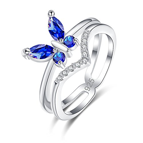 - Humasol 925 Sterling Silver Filled Cubic Zirconia Sapphire Quartz Butterfly Engagement Band Ring for Women Girls