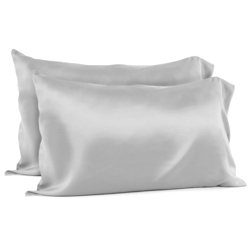 oakome Luxury 100% Mulberry Silk Pillowcase for Hair and Skin Preventing Wrinkles, Anti-Aging, Nurturing, Super-Soft, Good Housekeeping with Envelop Closure Pillowcase (Gray King, 2 Pack)