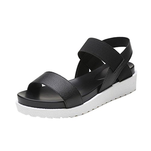 Sonnena Fashion Sandals Women Aged Leather Flat Sandals Ladies Shoes Black vXYVAW