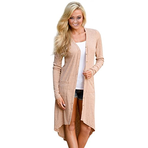 Coper Fashion Womens Long Sleeve Knitted Cardigan Loose Coat (Khaki, M)