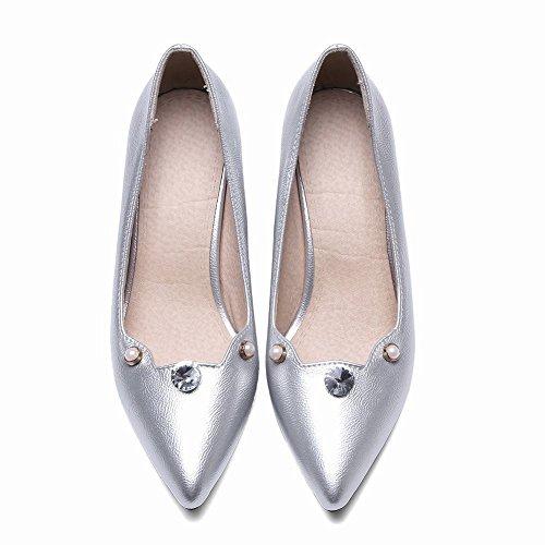 Mee Shoes Damen Chunky Heels Strass Spitz Pumps Silber