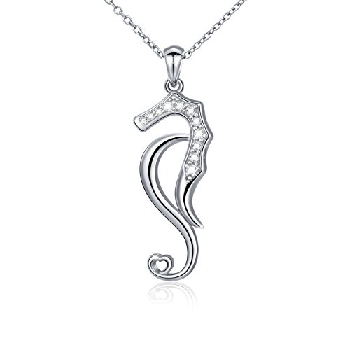 LINLIN FINE JEWELRY 925 Sterling Silver White Cubic Zirconia Seahorse Charm Pendant Necklace for Women (Seahorse) (Pendant Necklace with Gift Box)