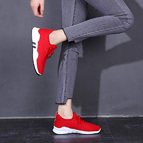 Sneakers Longra Red Breathable Lightweight Shoes Women's Mesh Running Casual Trainers wYxqfa6Yr