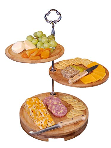 Hosting Elegance Cheese Board - 3 Tiered Bamboo Serving Tray and Knife Set for Weddings and Parties - Sturdy Setup, Wide 10 inch Diameter