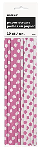 Hot Pink Polka Dot Paper Straws, 10ct -