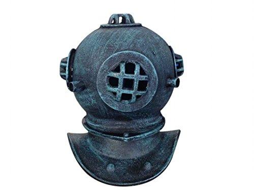 Handcrafted Model Ships K-1216-seaworn Seaworn Blue Cast Iron Decorative Divers Helmet - 9 in.