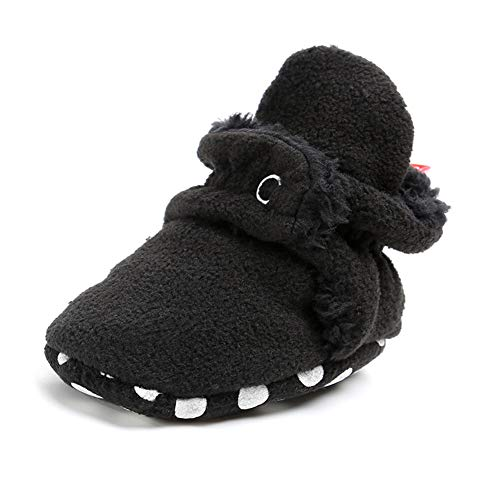 Save Beautiful Newborn Infant Baby Girls Boys Slippers Warm Fleece Boots First Walkers Shoes (12-18 Months, A-Black) -