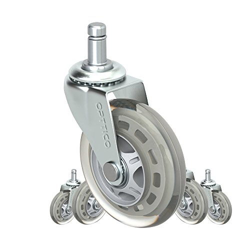 Office Chair Caster Wheels Replacement Set of 5 - HARDWOOD FLOOR Chair Wheels - No Chair Mat Needed - 3