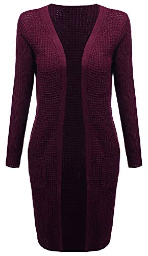 Ladies' Code Waffle Duster Long Open Sweater Knit Cardigan w/Pockets Burgundy S Size -