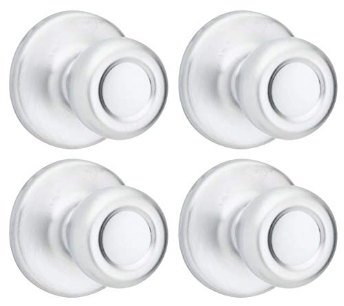 Kwikset Tylo Knob Hall and Closet Condtractor Pack, Satin Chrome Finish, 4 Knobs ()