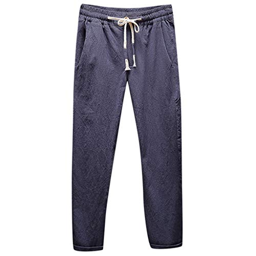Clearance! Men 's Linen Sweatpants,Male Summer Baggy Solid Loose Straight Trousers Drawstring Pants with Pockets