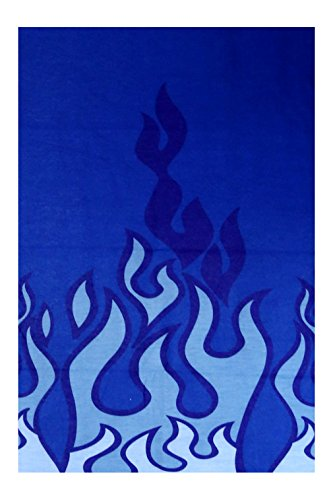 Triple9 Automotive Gear Balaclavas Seamless Face Mask Bandanas (Burning Flame - Blue)