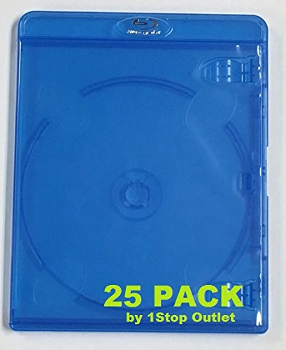 25 Pieces Emptry Replacement Blu-ray case Deluxe with Embossed Logo and Free Lens Cleaner
