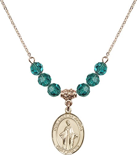 18-Inch Hamilton Gold Plated Necklace with 6mm Zircon Birthstone Beads and Gold Filled Our Lady of Africa Charm. by F A Dumont