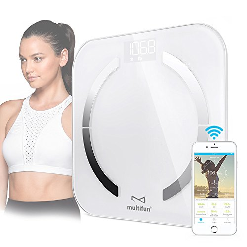 Bluetooth Body Fat Scale, multifun Digital Bathroom Scale with Body Composition Monitor, Smart Scale with iOS & Android Healthy Weight Loss Tracking App