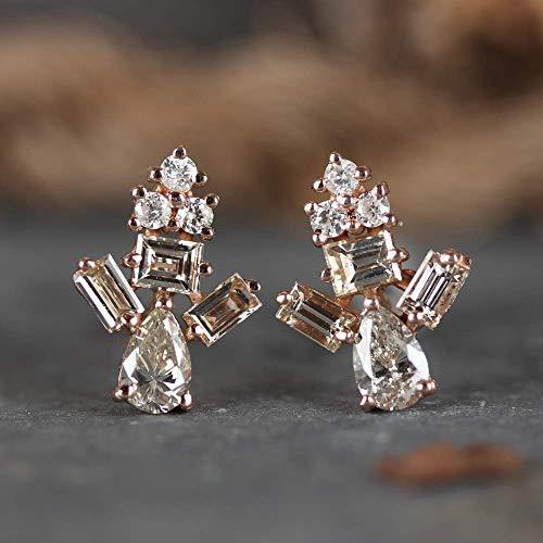 Pear, Baguette, Princess & Round Diamond Stud Earrings Solid 14k Rose Gold Fine Jewelry