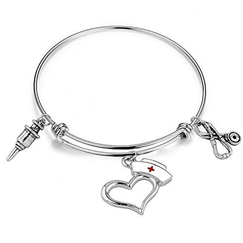 Drop Bangles It (Zuo Bao Stainless Steel Adjustable Size Wire Bracelet Enamel Nurse Cap And Stethoscope Charm Metal Bangle (nurse hat+Stethoscope+Syringe))