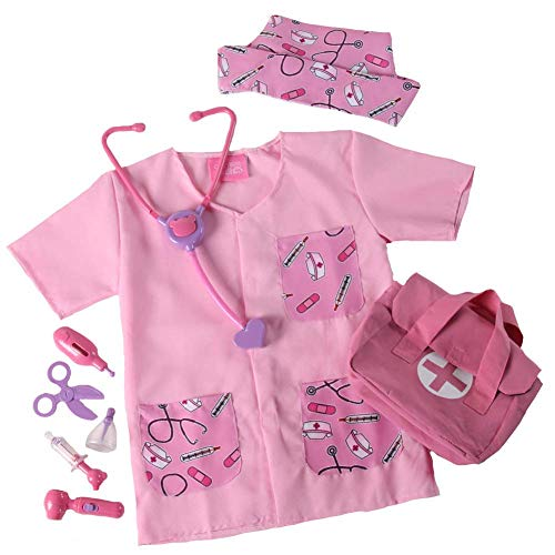 Pink Lil' Nurse/Doctor Costume, Medical Bag and Toy First Aid Play Set, Size 2/4 -