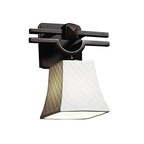 Justice Design Group Limoges 1-Light Wall Sconce - Dark Bronze Finish with Checkerboard Translucent Porcelain Shade