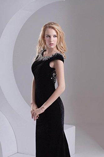 schwarzes Schwarz mit Samt Rueckenschnuerung Sexy GEORGE BRIDE Perlen Abendkleid Klassische wvI1Aq
