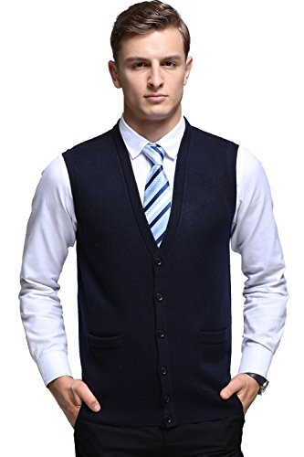 Kinlonsair Mens Slim Fit Ribbed Knit Cardigan Sweater Vest with Pockets (X-Large, ZKSM852-navy Blue) by Kinlonsair