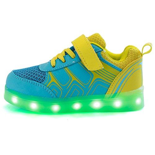 DoGeek 7 dei Nella Suola LED Scarpe Taglia Luce Luminosi bambini Bright Tennis Scarpe Con di Una USB Carica Colore Led Luci Bambino Sneakers Luci Unisex Scarpe Scarpe Giallo Shoes Mejor Bambina Sneakers Con rwOqfprI