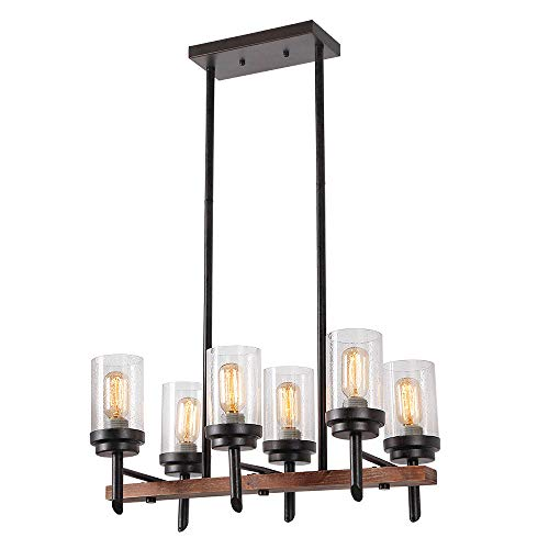 Eumyviv 17802 6-Lights Metal Wood Pendant Lamp with Glass Shade, Retro Rustic Chandelier Edison Vintage Decorative Ceiling Light Fixtures Hanging Light Luminaire
