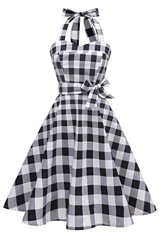 (Topdress Women's Vintage Polka Audrey Dress 1950s Halter Retro Cocktail Dress Black White Plaid)