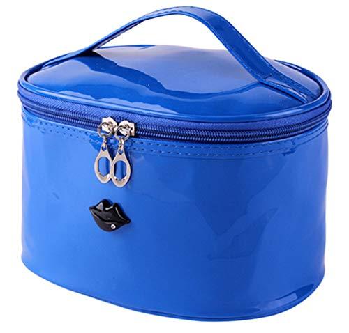 (Toiletry Kit Travel Cosmetic Makeup Make Up Bag Pencil Pen Case For Brush Handbag Organizer Women Pouch Blue 21 X 14 X 13 cm)