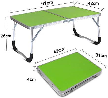 折りたたみテーブル、ポータブル長方形のパソコンデスクは、ロックバックルやハンドル、ダブルフォールディングアンチスキッドデザイン、ベッドルームリビングルームに適してベッド,グリーン