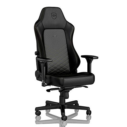 noblechairs Hero Gaming Chair - Office Chair - Desk Chair - PU Leather - 330 lbs - 135° Reclinable - Lumbar Support - Racing Seat Design - Black/Gold