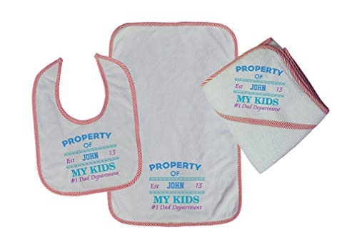 Personalized Custom Property of My Kids Dad Department Cotton Boys-Girls Baby Bib-Burb-Towel Set - Red, One -