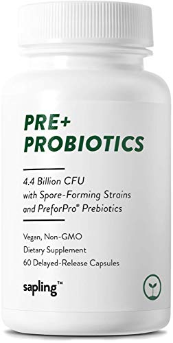 Vegan Prebiotic & Probiotic - Non Dairy 4.4 Billion CFU for Gut & Digestive Support - Patented Non-GMO Ingredients with Lactobacillus Acidophilus. 60 Targeted Delayed-Release Capsules for Men & Women
