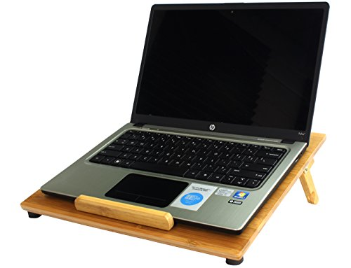 Aleratec Natural Bamboo Cooling Vented Laptop Desk/Table Stand with Fan Up to 15in