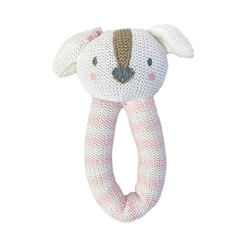 Living Textiles Baby Knitted Toy Rattle - Rory Puppy - Premium 100% Cotton Super Cute Soft & Fun Stuffed Animal Character   for Infant,Newborn,Nursery,Stuff,Knit,Gift,Shower,Girl