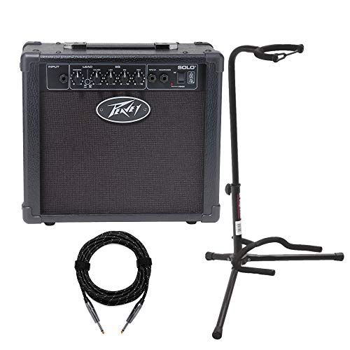 - Peavey Solo 12W Transtube Electric Guitar Amplifier with Guitar Stand and Cable