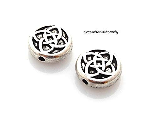 Knot Spacer - 10 Antiqued Tibetan Silver 11x4mm Celtic Knot Spacer Flat Round Coin M&M Beads