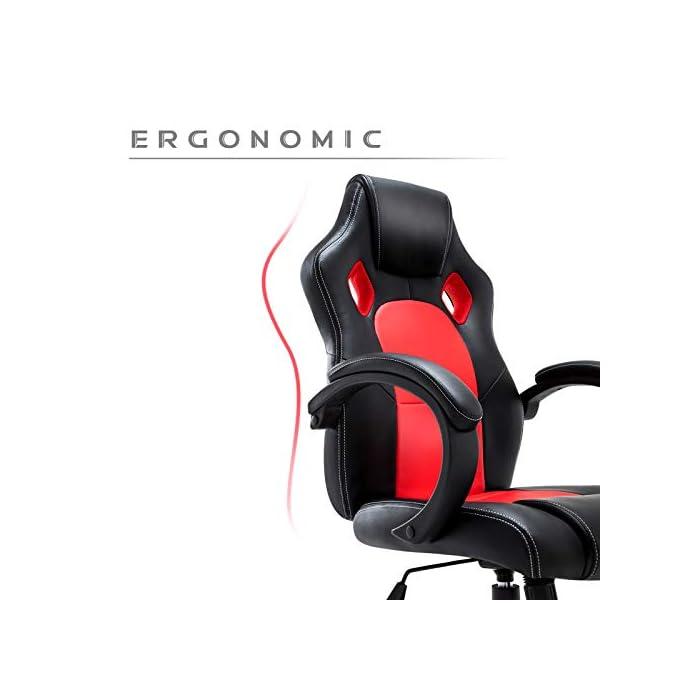 41Q%2B7GBD1iL Diseño ergonómico: para la gente que necesita poco largo tiempo ante el ordenador, será una buena opción, y puede trabajar más relajado, el soporte lumbar le ayudará a sostener la columna vertebral más cómodo Ajustable: el mecanismo de inclinación completamente, es que el respaldo y asiento se pueden ajustar juntos, (no separados) puede descansar cuando está cansado del trabajo; además puede regular la altura de silla según su necesitad de trabajo; realiza 360 grados de rotación Soporte fuerte: le proporcionará gran apoya con seguridad y más estable, todas partes de silla hechas por alta calidad, con más largo tiempo del uso, todos los accesorios pasan la prueba de bifma