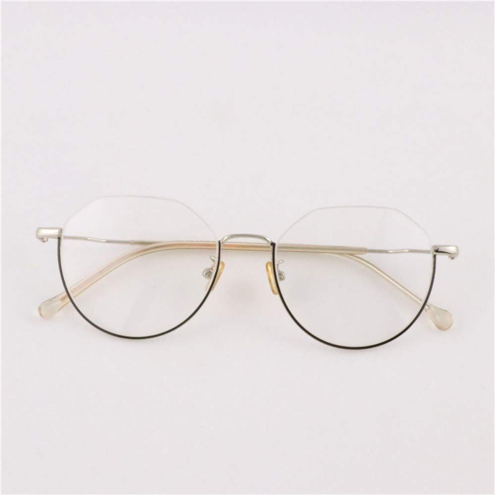 Half frame///small fresh literary girls anti-blue radiation glasses silver black frame