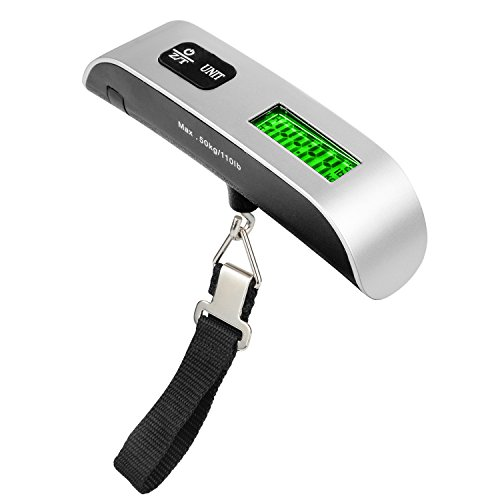 kerong Luggage Scale Travel LCD Digital Electronic Hand Carry Weighing Device Thermometer 110lb/50kg Capacit (Silver) by kerong