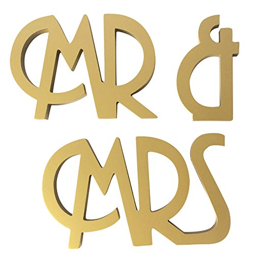 (Fewear Wedding Table Decorations, MR & MRS Wooden Letters Wedding Decoration Present Props Table Adornment (Gold))