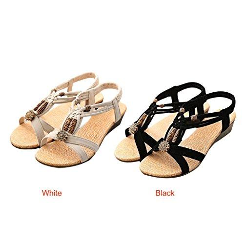 WINWINTOM Women Casual Peep-Toe Flat Buckle Shoes Roman Summer Sandals, Women's Casual Peep-Toe Flat Buckle Shoes Roman Summer Sandals Black