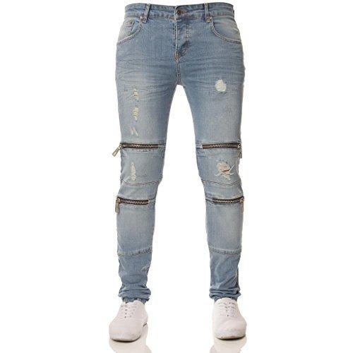 Herren ENZO Designer Markiert Gerippt Passform Modisch Beschichtetes Denim Shorts 28-48 - Marineblau/Weiß, W38 x Regulär