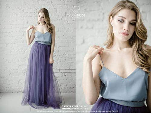 Amazon.com: Amethyst Classic Silk Bridesmaid Dress Tulle